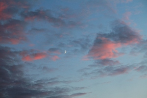 Moon Speck at Sunset