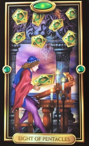 8 of Pentacles by Ciro Marchetti, Gilded Tarot