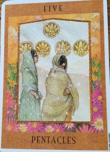 5 of Pentacles by Kris Waldherr, Goddess Tarot