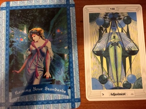 "Doreen Virtue's ""Raising Your Standards"" Healing with the Fairies oracle card and Aleister Crowley's ""Adjustment"" Thoth tarot card"