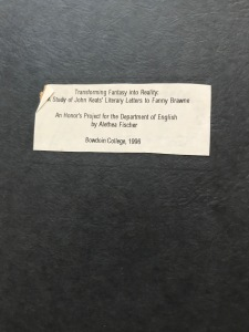 honor's thesis on John Keats and Fanny Brawne