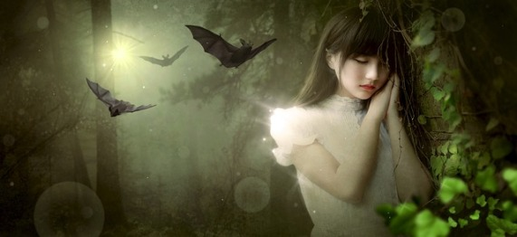 Sleeping girl in forest with bats