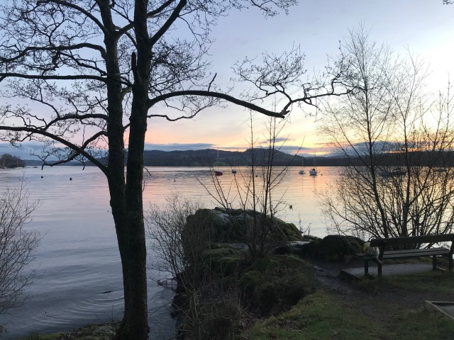 Photo of a 'poet's bench' on Lake Windermere